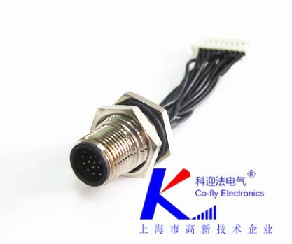 12PIN防水传感器M12插头厂家